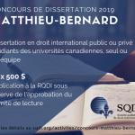 Concours de dissertation Matthieu-Bernard en droit international 2018-2019