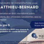 Concours de dissertation Matthieu-Bernard en droit international 2019-2020